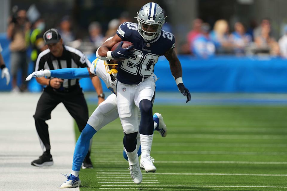 Dallas Cowboys running back Tony Pollard turned 13 carries into 109 rushing yards and a touchdown last week against the Los Angeles Chargers. (Kirby Lee/USA TODAY Sports)