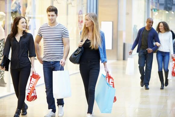 Friends shopping at mall