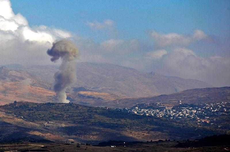 Smoke billows from the Syrian village of Hader on November 3, 2017 after a jihadist suicide bomber blows up a vehicle (AFP Photo/JALAA MAREY)