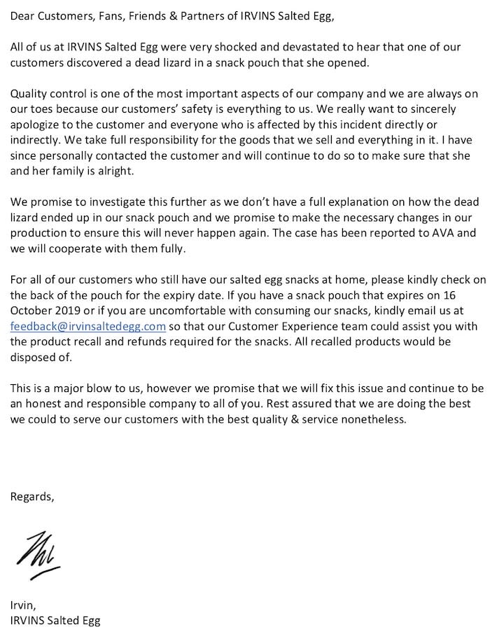 Letter sent to Coconuts Singapore