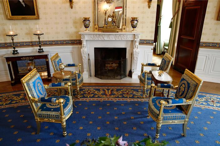 This Sept. 17, 2019, photo shows restored furniture in the Blue Room of the White House in Washington.