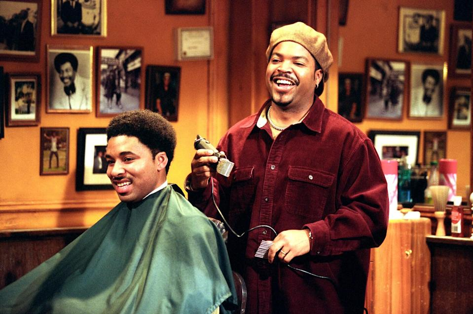 "<p><strong>Barbershop</strong> chronicles a day in the life of a shop on the south side of Chicago, diving into the camaraderie that exists between men and their barbers. Calvin (Ice Cube) inherits the struggling business from his father and immediately sells, but later comes to realize he may have made a mistake.</p> <p><a href=""http://www.amazon.com/Barbershop-Ice-Cube/dp/B000IZ8V8U"" class=""link rapid-noclick-resp"" rel=""nofollow noopener"" target=""_blank"" data-ylk=""slk:Watch Barbershop on Amazon Prime Video"">Watch <strong>Barbershop</strong> on Amazon Prime Video</a>.</p>"