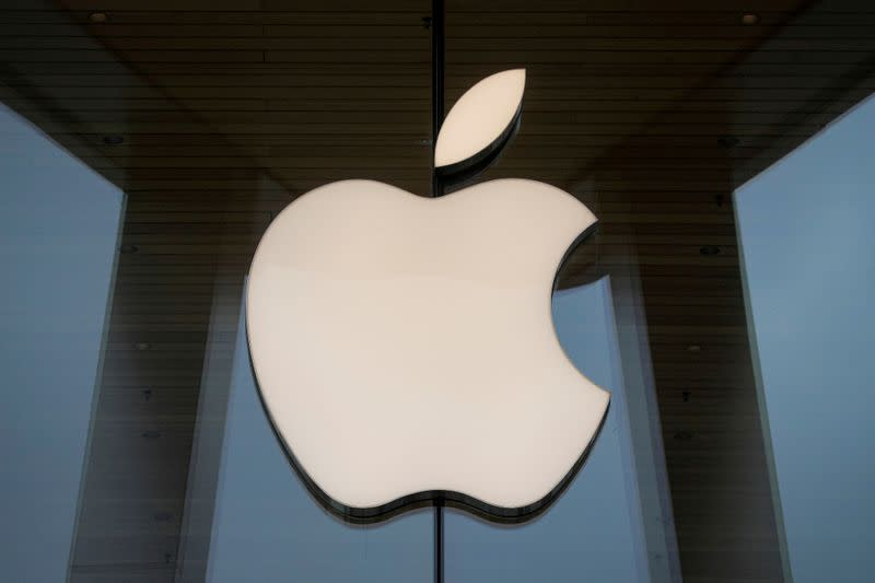 FILE PHOTO: The Apple logo is seen at an Apple Store in Brooklyn, New York, U.S.