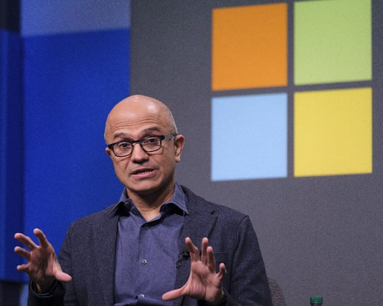 Microsoft CEO Satya Nadella has helped fuel a rebound by the technology giant which has climbed back to the ranks of the world's most valuable companies (AFP Photo/STEPHEN BRASHEAR)