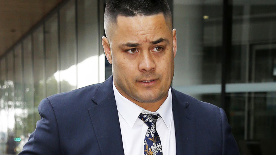 Jarryd Hayne, pictured here to defend two charges of aggravated sexual assault.