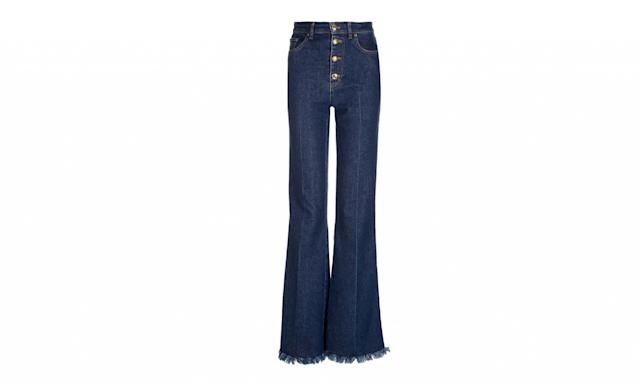 "<p>Dark blue denim button flares, $390, <a href=""http://www.avenue32.com/us/dark-blue-denim-buttoned-flares/SON00116040685.html?utm_source=polyvore&utm_medium=affiliate&utm_campaign=flared%20jeans"" rel=""nofollow noopener"" target=""_blank"" data-ylk=""slk:avenue32.com"" class=""link rapid-noclick-resp"">avenue32.com</a> </p>"
