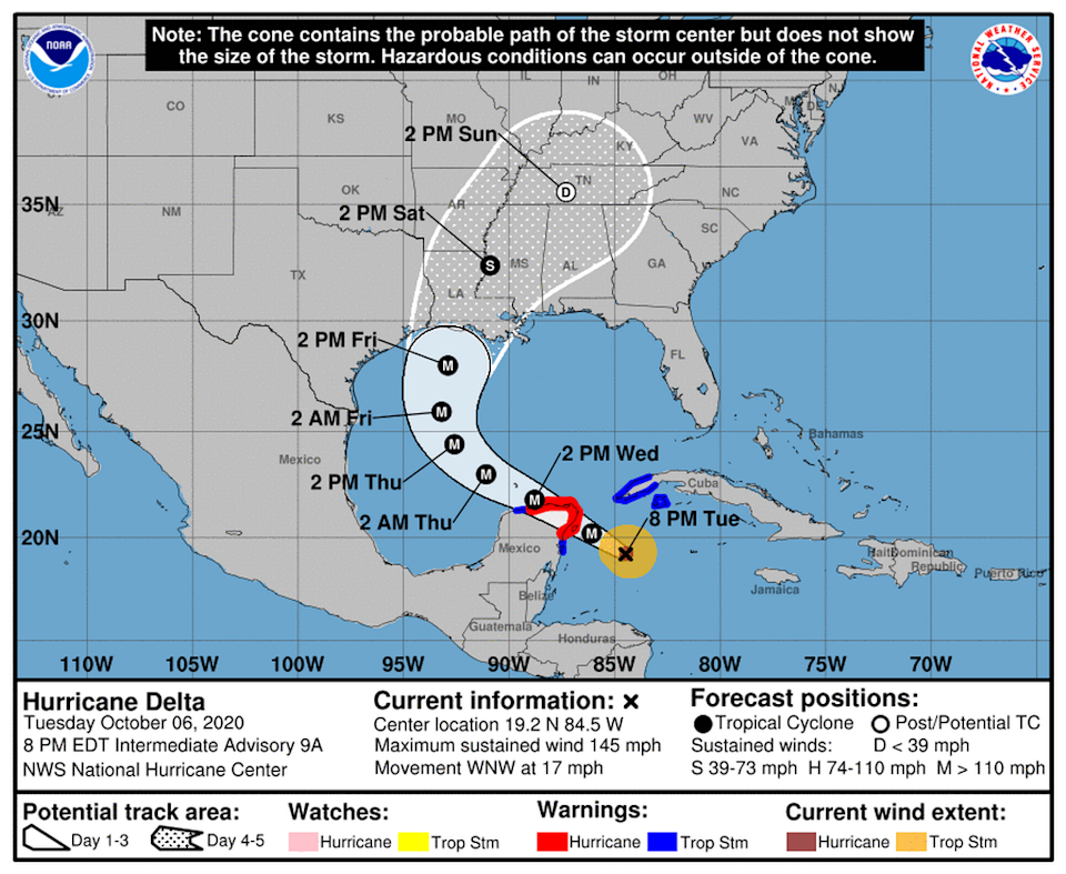Hurricane Delta is a powerful Cat 4 storm that could be nearly a Cat 5 when it makes landfall in the Yucatan Peninsula.