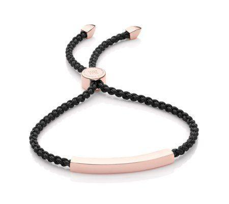 """<p><strong>Monica Vinader</strong></p><p>monicavinader.com</p><p><strong>$175.00</strong></p><p><a href=""""https://go.redirectingat.com?id=74968X1596630&url=https%3A%2F%2Fwww.monicavinader.com%2Fus%2Flinear-friendship-bracelet%2Frose-gold-vermeil-linear-friendship-bracelet-black&sref=https%3A%2F%2Fwww.redbookmag.com%2Ffashion%2Fg34824874%2Fbest-jewelry-gift-ideas%2F"""" rel=""""nofollow noopener"""" target=""""_blank"""" data-ylk=""""slk:Shop Now"""" class=""""link rapid-noclick-resp"""">Shop Now</a></p><p>Show your friends how much they mean to you with an engravable friendship bracelet that is all grown up.</p>"""