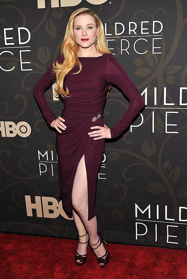 "Following in Kate's footsteps at the New York premiere of ""Mildred Pierce"" ... the equally beautiful Evan Rachel Wood, who nearly stole the spotlight in an Elie Saab showstopper and matching plum-colored peep-toes. Stephen Lovekin/<a href=""http://www.gettyimages.com/"" target=""new"">GettyImages.com</a> - March 21, 2011"