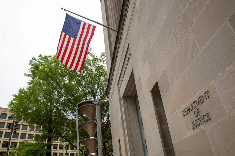 FILE PHOTO: A general view of the Department of Justice building is seen ahead of the release of the Special Counsel Robert Mueller's report in Washington
