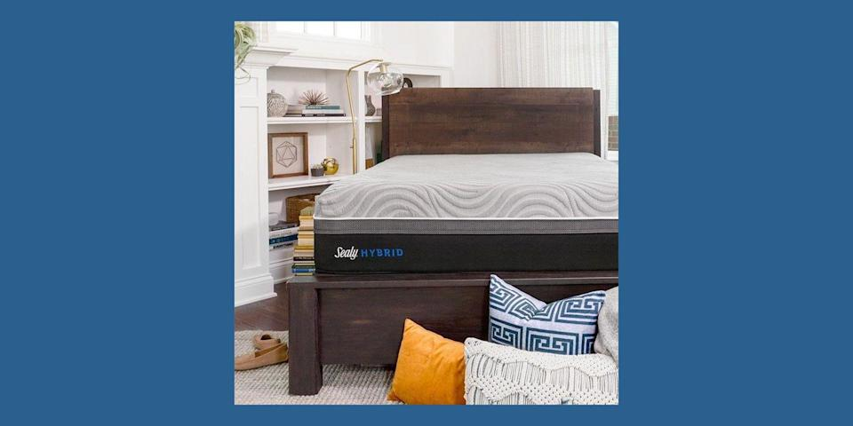 """<p>Yet another long-standing trusted mattress brand, <a href=""""https://www.sealy.com/"""" rel=""""nofollow noopener"""" target=""""_blank"""" data-ylk=""""slk:Sealy"""" class=""""link rapid-noclick-resp"""">Sealy</a> has been around since 1881. The brand launched its signature Posturepedic technology back in 1950, and has been making even more comfortable mattresses ever since. Sealy currently has five different mattress options to choose from, including an affordable mattress-in-a-box, a cooling memory foam mattress, a line of innerspring mattresses, another line of memory foam mattresses, and a hybrid line. </p><p><a class=""""link rapid-noclick-resp"""" href=""""https://www.sealy.com/mattresses/sealy-hybrid-performance/v/65/"""" rel=""""nofollow noopener"""" target=""""_blank"""" data-ylk=""""slk:BUY NOW"""">BUY NOW</a> <strong>Hybrid Performance Mattress, $1,599, <em>sealy.com</em></strong></p>"""
