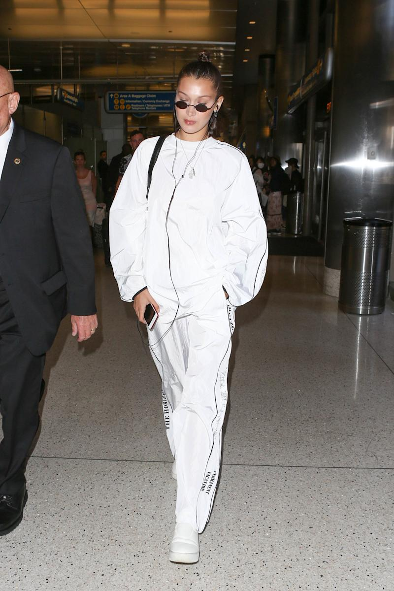 Bella Hadid is seen at LAX on June 21, 2017 in Los Angeles, California.
