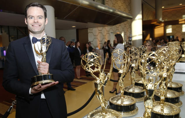 """EXCLUSIVE - Bill Hader accepts the award for outstanding lead actor in a comedy series for """"Barry"""" at the 71st Primetime Emmy Awards on Sunday, Sept. 22, 2019, at the Microsoft Theater in Los Angeles. (Photo by Eric Jamison/Invision for the Television Academy/AP Images)"""