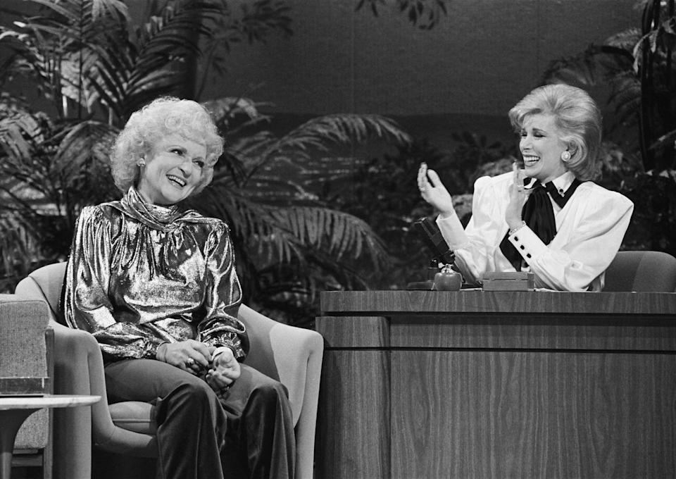 <p>Here, White is pictured with Joan Rivers, who was a guest host on <em>The Tonight Show Starring Johnny Carson</em>. The two went on to have a friendship and would later star in <em>Hot In Cleveland</em> together. </p>