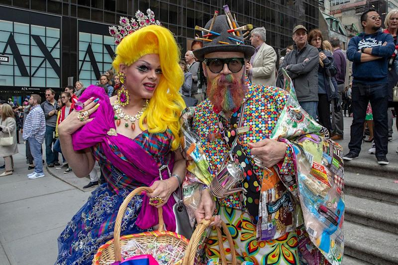 Participants wearing costumes and hats attend the annual Easter Parade and Bonnet Festival on April 21, 2019 in New York. (Photo: Gordon Donovan/Yahoo News)