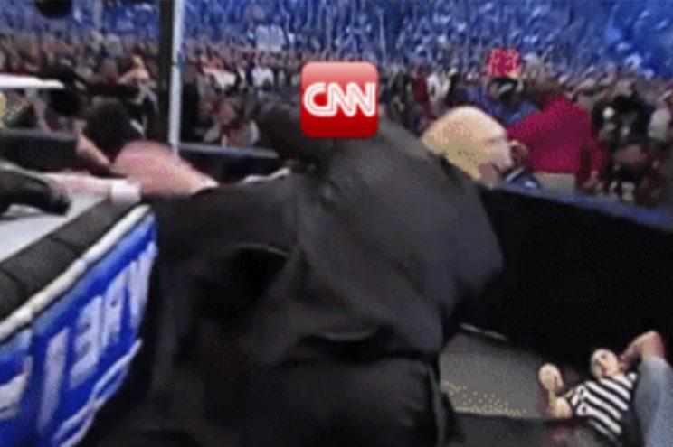The clip shows Trump slamming 'CNN' to ground. (@realDonaldTrump via Reddit)