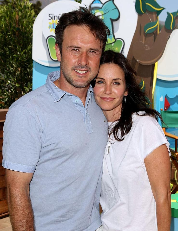 "<a href=""/courteney-cox/contributor/28588"">COURTENEY COX ARQUETTE</a>: 45 // <a href=""/david-arquette/contributor/28590"">DAVID ARQUETTE</a>: 38 // AGE DIFFERENCE: 7 YEARS, 3 MONTHS -- The star of ABC's sexy new comedy <a href=""/cougar-town/show/44787"">""Cougar Town""</a> sunk her claws into future hubby David Arquette way back in 1996 when they co-starred in Wes Craven's horror hit ""Scream."""