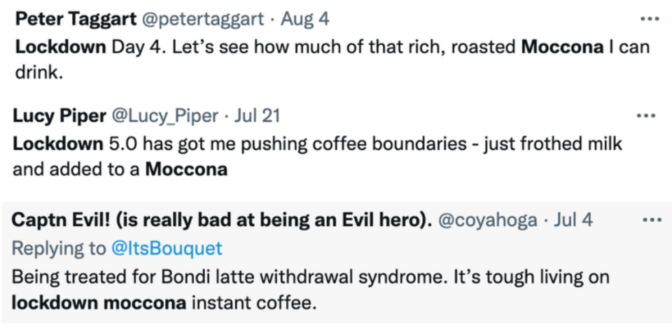 tweets about moccona instant coffee in lockdown