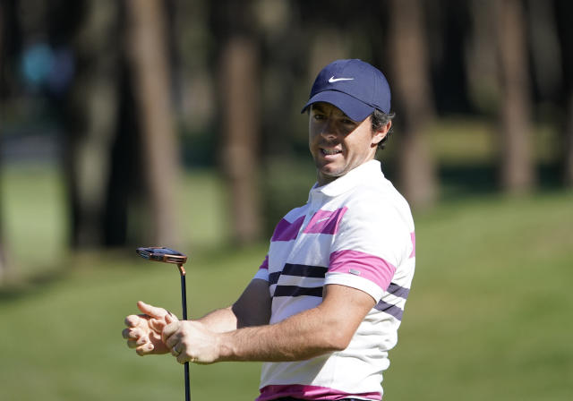 Rory McIlroy of Northern Ireland reacts after a putt on the 9th hole during the pro-am event of the Zozo Championship PGA Tour at Accordia Golf Narashino C.C. in Inzai, east of Tokyo, Japan, Wednesday, Oct. 23, 2019. (AP Photo/Lee Jin-man)