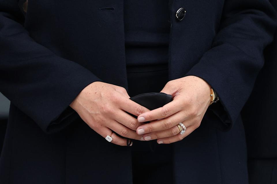 A close-up photo of Meghan, Duchess of Sussex's rings on a visit to One World Observatory on September 23, 2021 in New York City. (Photo by Taylor Hill/WireImage)