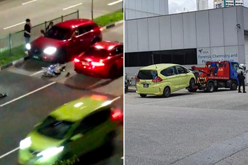 A yellow car (left) caught on video leaving the accident scene on 5 January and a similar vehicle (right) seen being towed to the HSA's Forensic Chemistry and Physics Lab Garage. (PHOTOS: Video screengrab, Singapore Road Vigilante Facebook page)