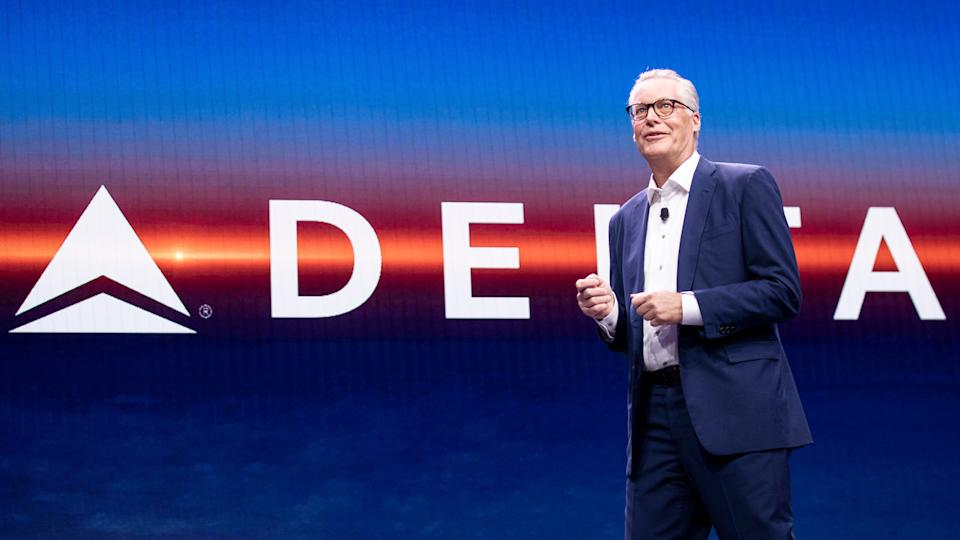 Mandatory Credit: Photo by ETIENNE LAURENT/EPA-EFE/Shutterstock (10520034m)Delta Airline CEO Ed Bastian delivers a speech during the Delta keynote at the 2020 International Consumer Electronics Show in Las Vegas, Nevada, USA, 07 January 2020.