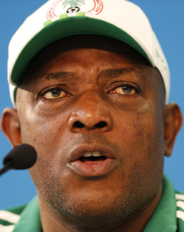 Nigeria's coach Stephen Keshi speaks during a news conference at Beira-Rio Stadium in Porto Alegre, Brazil, Tuesday, June 24, 2014. Nigeria plays in group F of the 2014 soccer World Cup. (AP Photo/Victor R. Caivano)