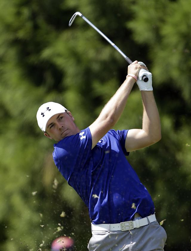 Jordan Spieth tees off on the second hole during the second round of play in the Tour Championship golf tournament at East Lake Golf Club in Atlanta, Friday, Sept. 20, 2013. (AP Photo/John Bazemore)