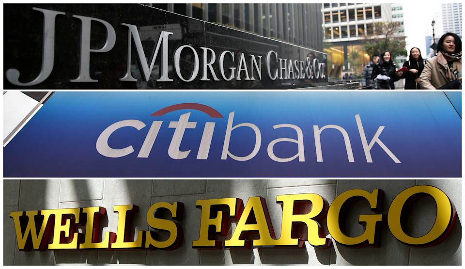 FILE PHOTOS: Signs of JP Morgan Chase Bank, Citibank and Wells Fargo & Co. bank are seen in this combination photo from Reuters files.   REUTERS/File Photos