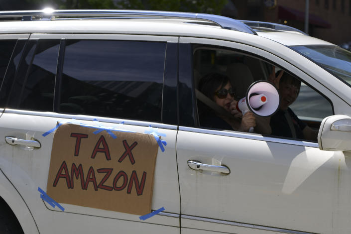 SEATTLE, WA - MAY 1: Tax Amazon caravan protest in Seattle, Washington During the coronavirus pandemic on May 01, 2020. Credit: Damairs Carter/MediaPunch /IPX