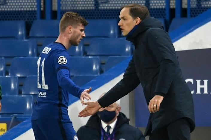 Chelsea coach Thomas Tuchel with Timo Werner during their Champions League semi-final win over Real Madrid on Wednesday