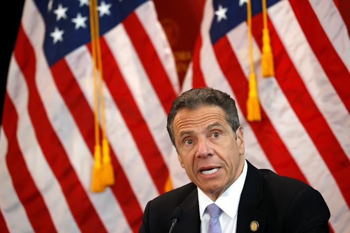 FILE PHOTO: New York Governor Andrew Cuomo speaks at his daily briefing at New York Medical College during the outbreak of the coronavirus disease (COVID-19) in Valhalla, New York, U.S., May 7, 2020. REUTERS/Mike Segar