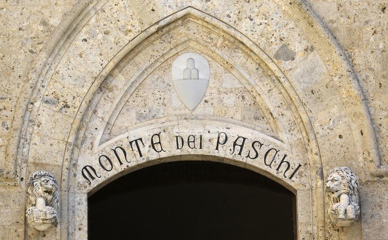 The entrance of Monte dei Paschi bank headquaters is pictured in downtown Siena