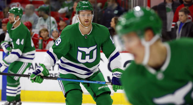 Carolina's Dougie Hamilton wearing the jersey and number in question. (AP Photo/Karl B DeBlaker)