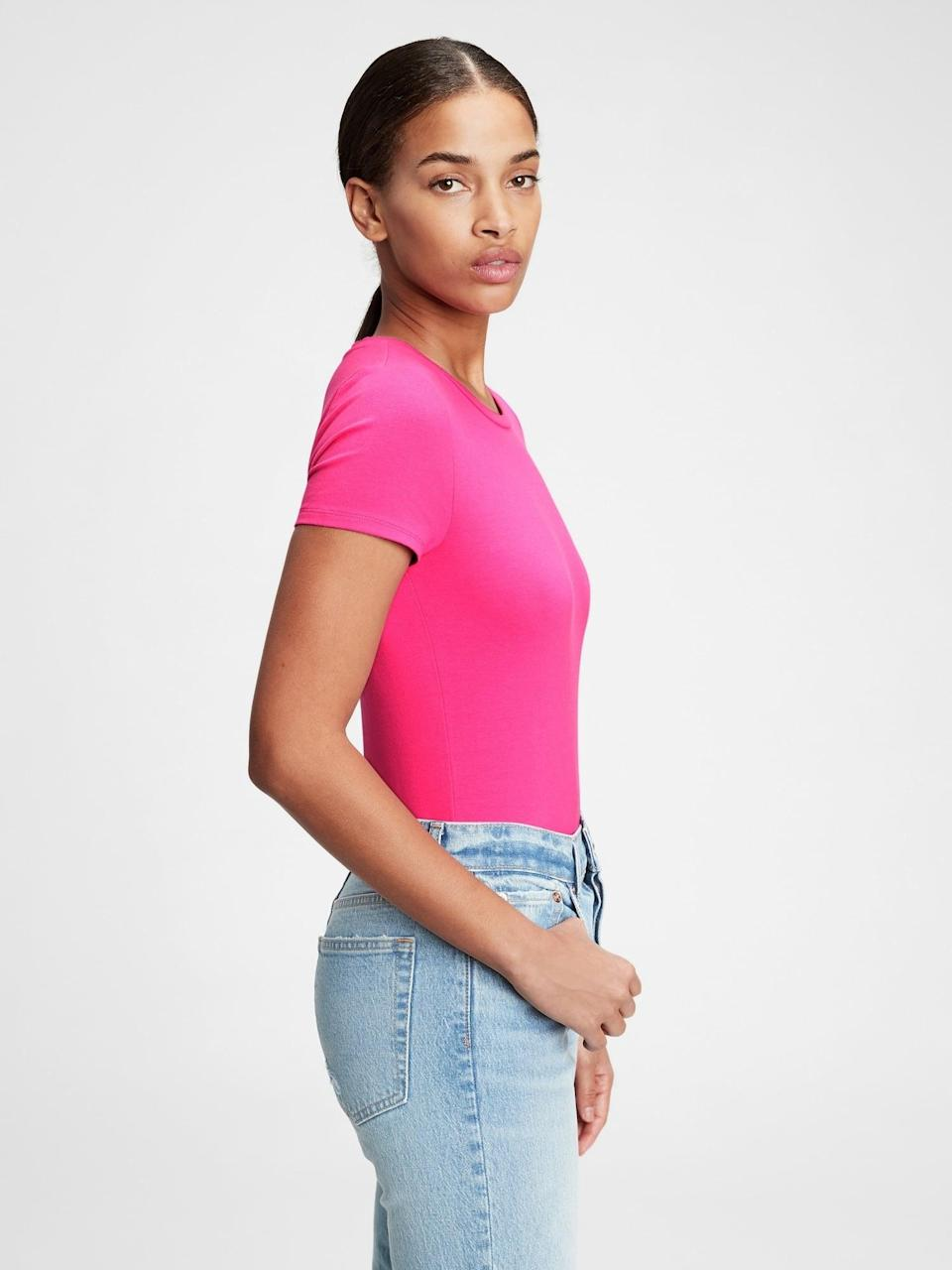 <p>Throw in a pop of V-day color with this <span>Gap Crewneck Bodysuit</span> ($16, originally $25). Pair with a pair of jeans and velvet boots!</p>