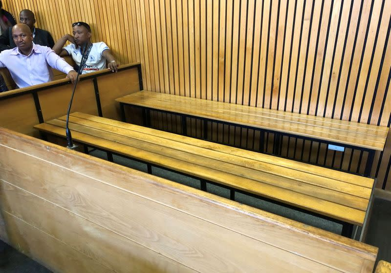 The dock sits empty as police investigators await the arrival of Lesotho's Prime Minister Thomas Thabane in court in Maseru, Lesotho
