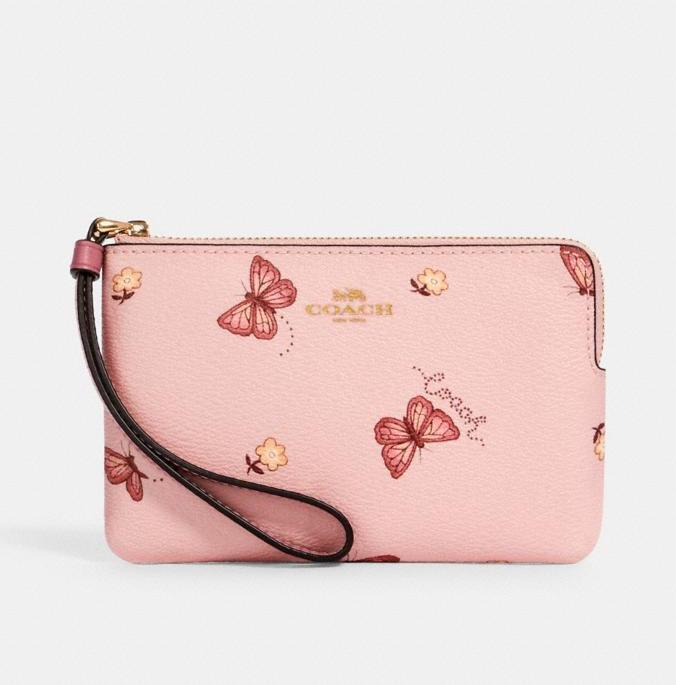 Corner Zip Wristlet With Butterfly Print. Image via Coach OUtlet.