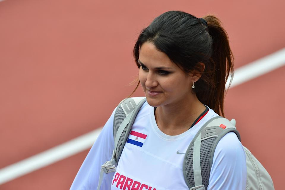 Paraguay's Leryn Franco is pictured during the women's javelin throw qualifying rounds at the athletics event during the London 2012 Olympic Games on August 7, 2012 in London. (GABRIEL BOUYS/AFP/Getty Images)