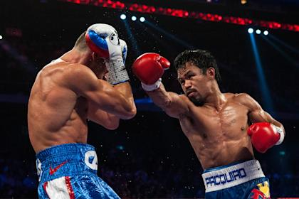 Manny Pacquiao throws at punch at Chris Algieri in his last fight in November. (AFP)