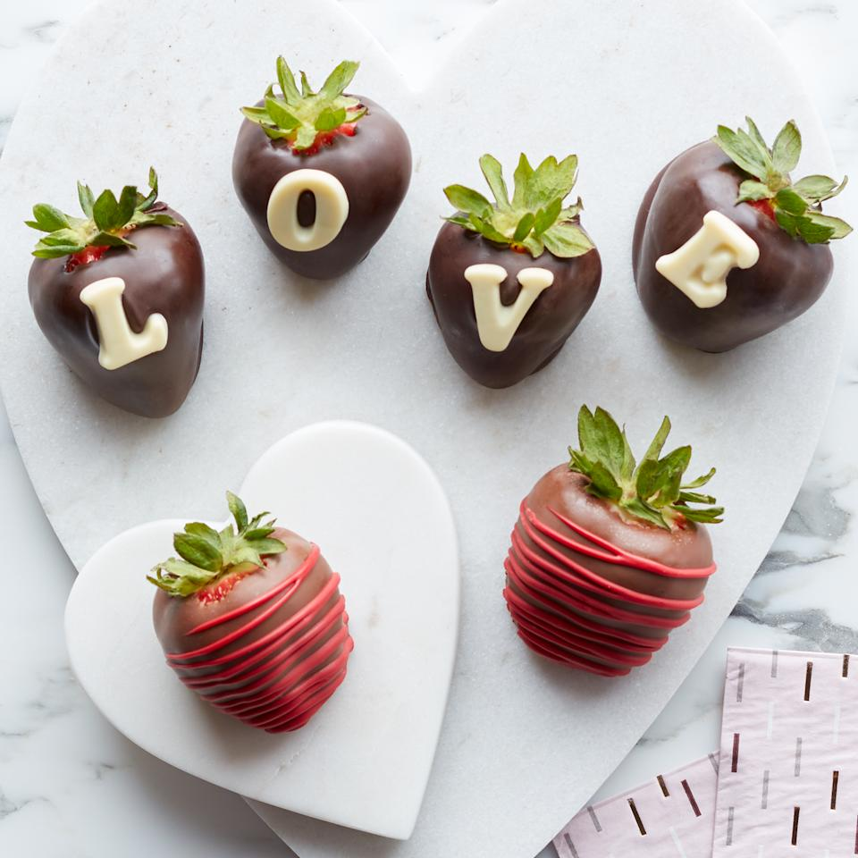 Valentine's Day Chocolate Covered Strawberries. Image via Hickory Farms.