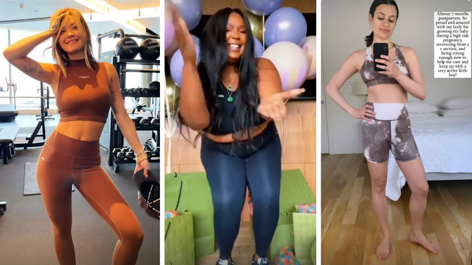 Rita Ora, Lizzo and Lea Michele wearing matching activewear sets from STAX