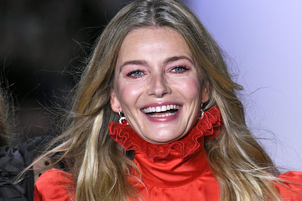 Paulina Porizkova was all smiles as she walked down the New York Fashion Week catwalk in 2019, but the model says she's battled anxiety and depression. (Photo: Victor VIRGILE/Gamma-Rapho via Getty Images)
