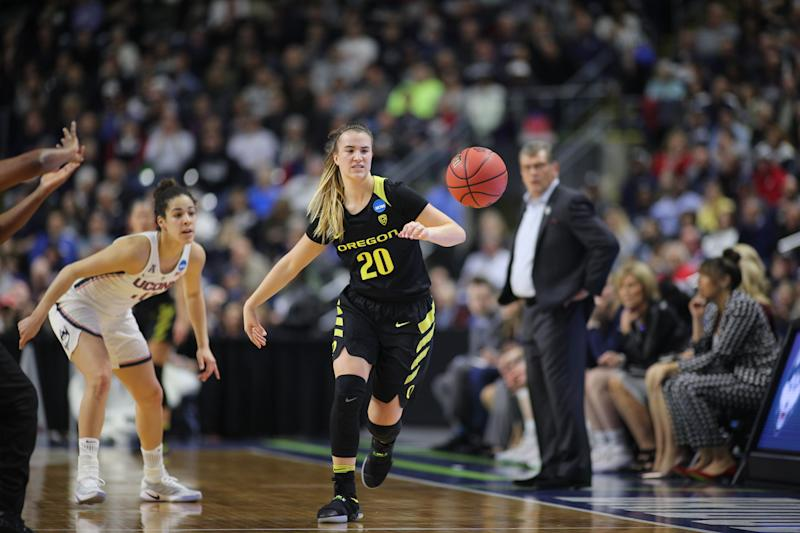 Sabrina Ionescu #20 of the Oregon Ducks in action during the UConn Huskies Vs Oregon Ducks, NCAA Women's Division 1 Basketball Championship game on March 27th, 2017 at the Webster Bank Arena, Bridgeport, Connecticut. (Photo by Tim Clayton/Corbis via Getty Images)