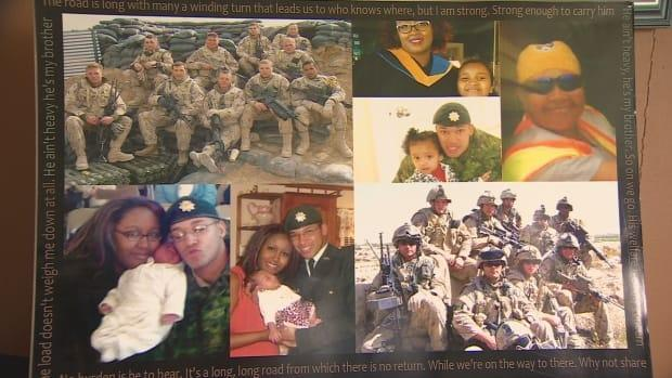 A collage of the Desmond family members and Desmond's military comrades.