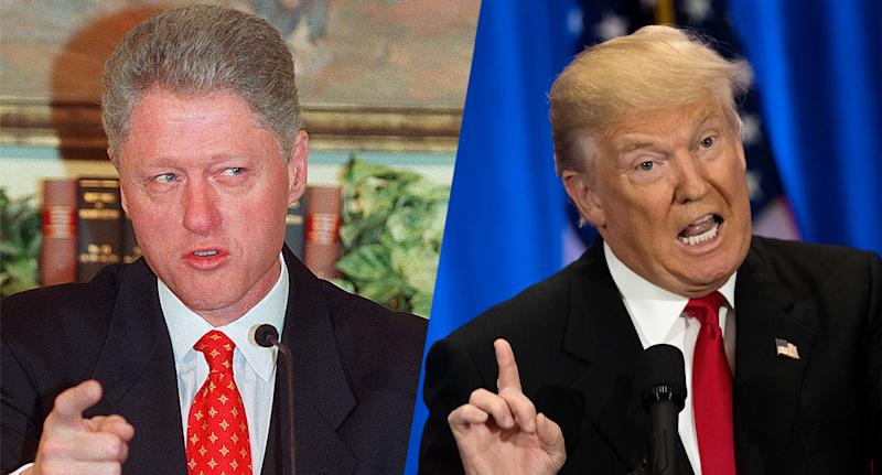 Former President Bill Clinton speaks to reporters about the affair with Monica Lewinsky, left, and Donald Trump speaks during an event at the Trump SoHo hotel.