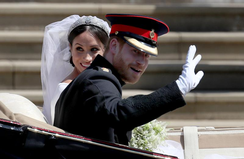 "<a href=""https://www.huffingtonpost.ca/entry/prince-harry-meghan-markle-wedding_ca_5cd54b4ae4b07bc72976b35b"" target=""_blank"" rel=""noopener noreferrer"">The royal couple marries</a> at St. George&rsquo;s Chapel in Windsor Castle in a beautiful ceremony, when the Queen officially gives Harry and Meghan their titles as Duke and Duchess of Sussex.&nbsp;"