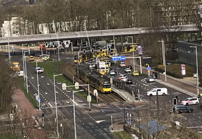In this image taken from the Twitter page of Lilian Bruigom, emergency services attend the scene of a shooting in Utrecht, Netherlands, Monday March 18, 2019. (Photo: Peter Dejong/AP)