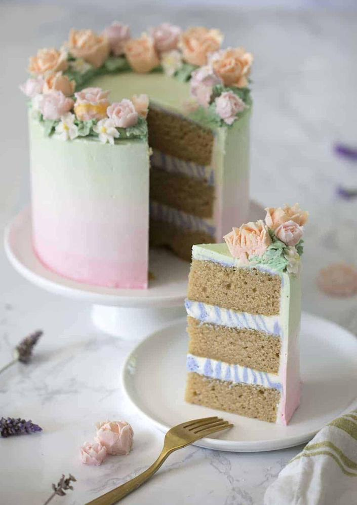 "<p>Inside this beautiful cake, you'll find layers infused with vanilla tea and a touch of lavender.</p><p><strong>Get the recipe at <a href=""https://preppykitchen.com/lavender-cake/"" rel=""nofollow noopener"" target=""_blank"" data-ylk=""slk:Preppy Kitchen"" class=""link rapid-noclick-resp"">Preppy Kitchen</a></strong><strong>.</strong></p><p><a class=""link rapid-noclick-resp"" href=""https://go.redirectingat.com?id=74968X1596630&url=https%3A%2F%2Fwww.walmart.com%2Fsearch%2F%3Fquery%3Dfood%2Bcoloring&sref=https%3A%2F%2Fwww.thepioneerwoman.com%2Ffood-cooking%2Fmeals-menus%2Fg36066375%2Fmothers-day-cakes%2F"" rel=""nofollow noopener"" target=""_blank"" data-ylk=""slk:SHOP FOOD COLORING"">SHOP FOOD COLORING</a></p>"