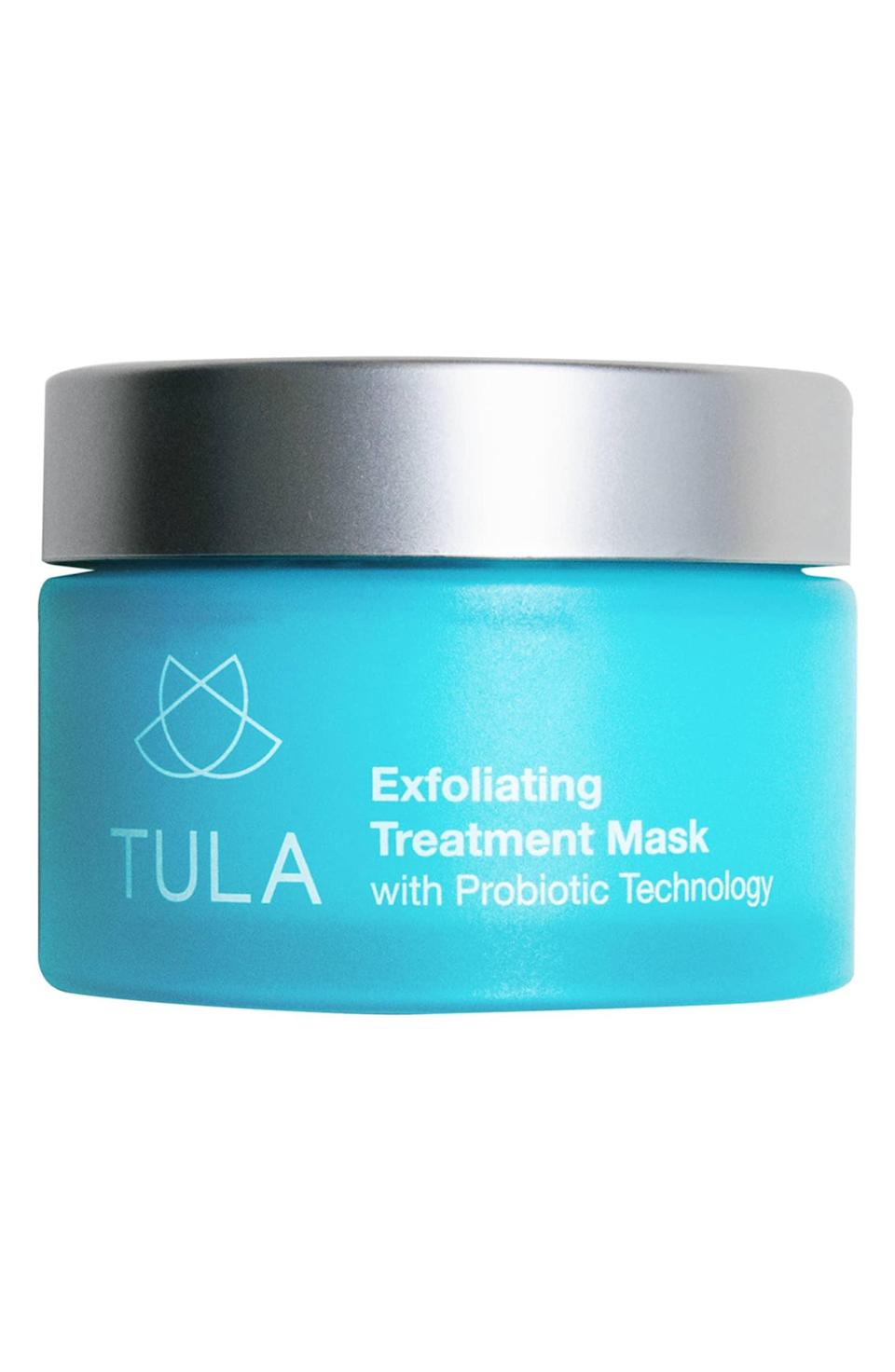 """<p>All 21 of Nordstrom reviewers give this <span>Tula Probiotic Skincare Exfoliating Treatment Mask</span> ($54) a perfect five stars.</p> <p>""""It's formulated with bentonite clay, which provides gentle exfoliation to remove impurities without stripping essential oils,"""" the brand explains. """"Probiotics combined with an antioxidant complex strengthen skin's natural defenses, revealing healthier skin and clean pores.""""</p>"""