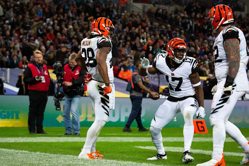 LONDON, ENG - OCTOBER 27: Cincinnati Bengals Running Back Joe Mixon (28) and Cincinnati Bengals Wide Receiver Stanley Morgan (17) celebrate in the end zone after a touchdown during the NFL game between the Cincinnati Bengals and the Los Angeles Rams on October 27, 2019 at Wembley Stadium, London, England. (Photo by Martin Leitch/Icon Sportswire via Getty Images)